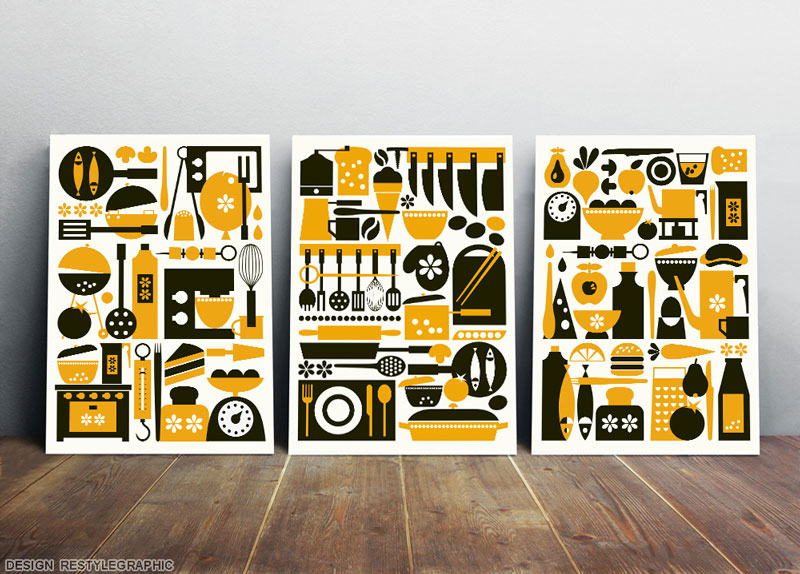 Yellow And Black Kitchen Art Set From 3 | ReStyleGraphic